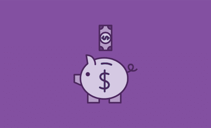 layout by flywheel finance tips purple piggy bank and dollar icons