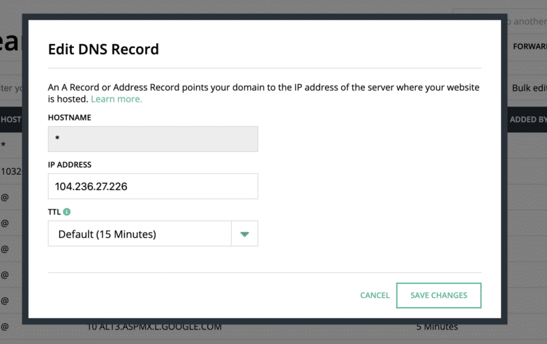 This is an example of creating an A record in Hover. While the format may look different, the essential items you need to add an A record will be the same: host name, IP address, and TTL.