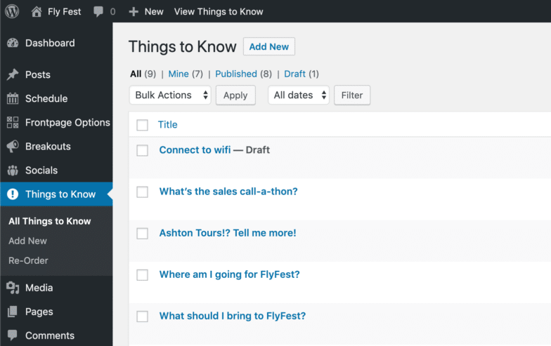 A screenshot from WordPress of custom post types showing: Connect to Wifi, What's the sales call-a-thon, Ashton tours tell me more, where am I going for FlyFest and what should I bring to FlyFest