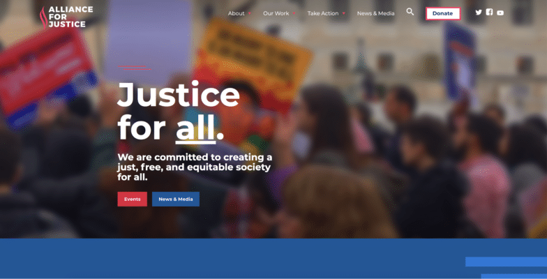 wordpress site examples alliance for justice