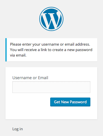 WordPress password reset form
