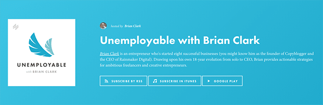 layout by flywheel best podcasts for freelancers unemployable logo with Brian Clark on blue background