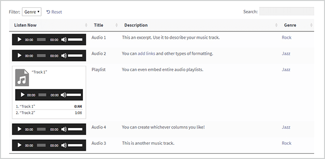 audio dynamic table screenshot in wordpress
