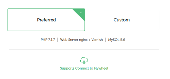 screenshot of local by flywheel server setup preferred option setup prompt